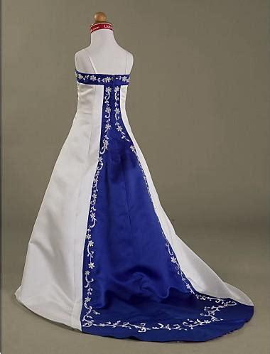 ivory royal blue satin beaded embroidery   court train spaghetti flower girl dresses formal