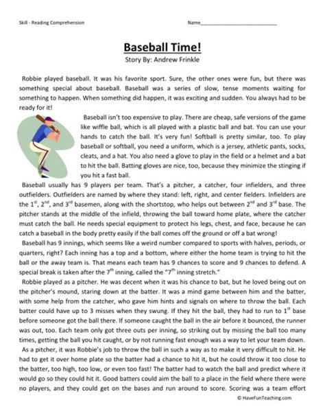 reading comprehension worksheet baseball time