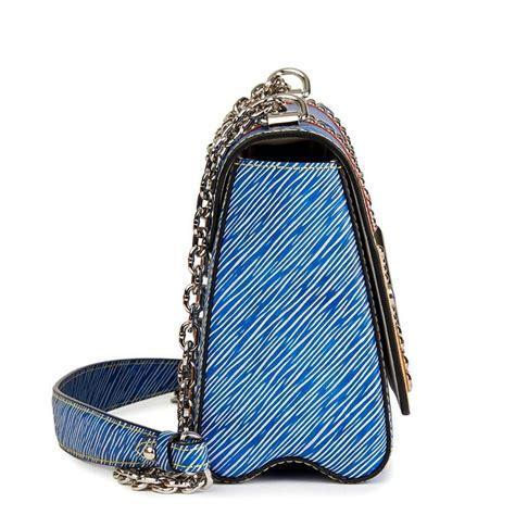 louis vuitton blue denim epi leather studs  coloured cabochons twist mm  stdibs