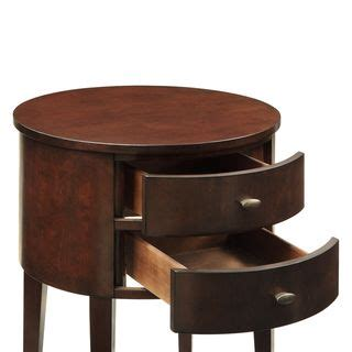 20 Inch Wide Nightstand by Inspire Q Aldine 2 Drawer Espresso Oval Wood Accent Table