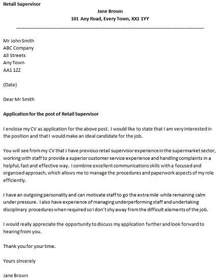 Exles Of Cover Letters For Retail by Retail Supervisor Cover Letter Exle Icover Org Uk
