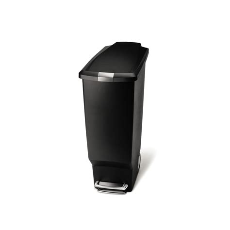 slim bathroom trash can with lid shop simplehuman slim 40 liter black plastic wheeled trash