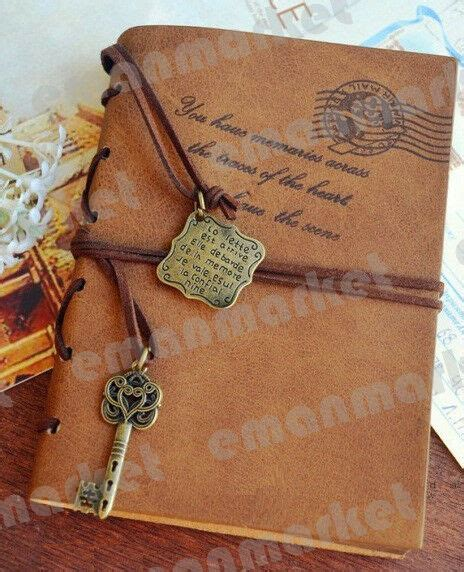 vintage magic key string classic leather notebook diary