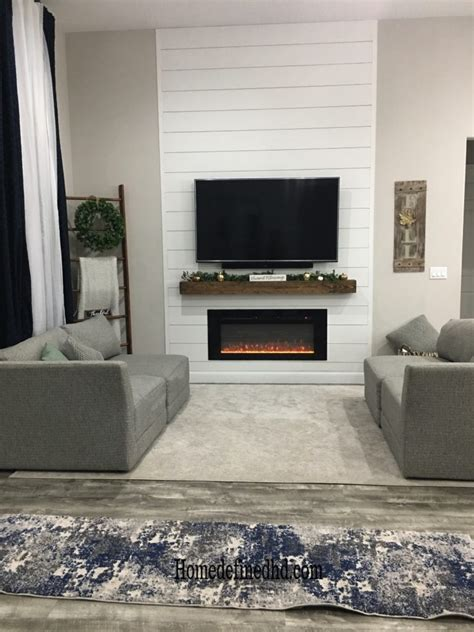 diy easy  affordable farmhouse shiplap fireplace wall