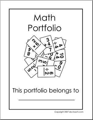 15184 portfolio design for elementary students portfolio cover elementary math b w abcteach
