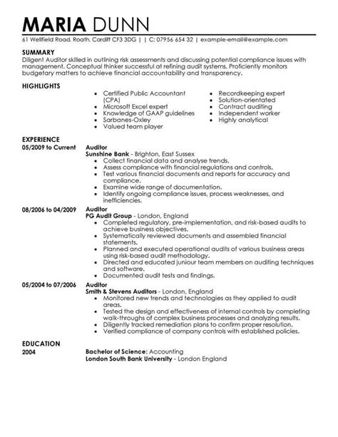 best auditor resume exle livecareer