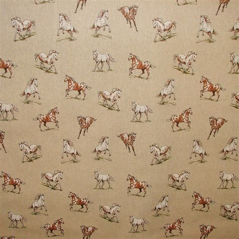 Country Upholstery Fabric by Vintage Linen Look Country Side Animals Digital Print