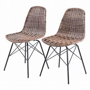 chaise tiptur en resine tressee naturelle lot de 2 With salle À manger contemporaineavec chaises tressees salle manger