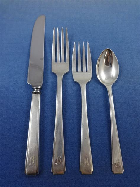 silver sterling flatware japanese modernism monogram pcs service