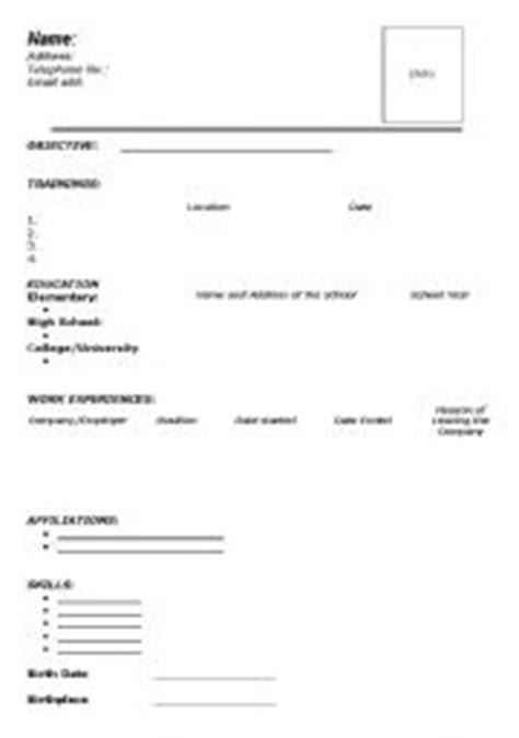 worksheets resume blank