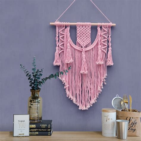 Backdrop Wall Hanging by 2018 Ins Macrame Wall Hanging Pink Tapestry Macrame
