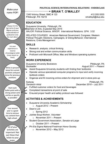 political science international relations underclass duquesne resume cover letter exles