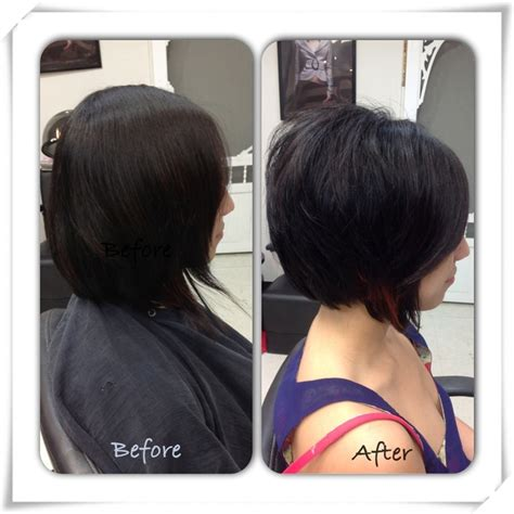 Grown out inverted bob shaped up into a shorter more