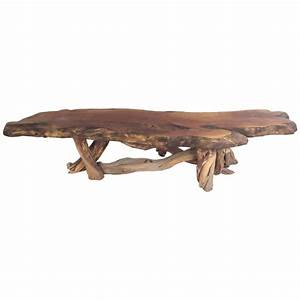 vintage rustic freeform tree slab coffee table for sale at With slab coffee table for sale
