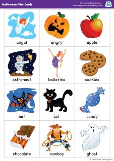 """Set Of 38 Mini Flashcards To Go With The """"super Simple Songs  Halloween"""" Cd Great For"""