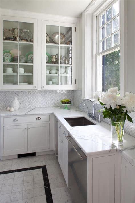 herringbone carrara backsplash beaded inset kitchen 1 183 more info
