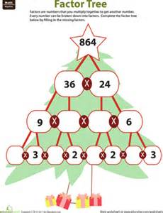 Multiples And Factors Worksheets Fill In The Factor Tree Worksheet Education Com
