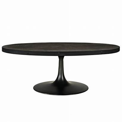 Coffee Table Round Wood Iron Oval Modern