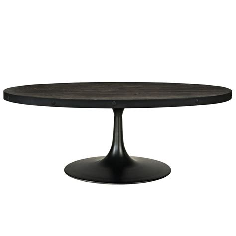 Round iron and wood coffee table. Drive Industrial Modern Round Wood Top Coffee Table w/ Cast Iron Pedestal, Black