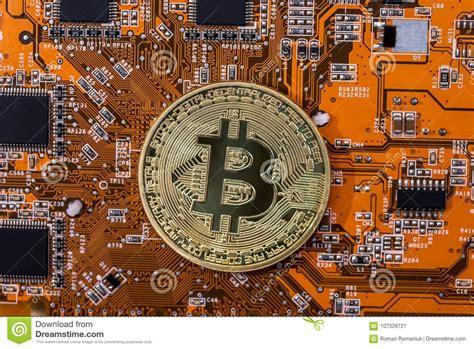 Home bitcoin wallets bitcoin bitcoin core features. Bitcoin Coin On Orange Computer Circuit Board Stock Image ...