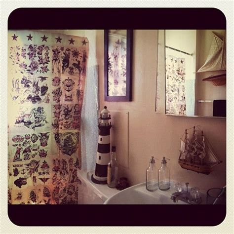 Sailor Jerry Home Decor by Sailor Jerry Themed Bathroom Decor Shower Curtain Guest