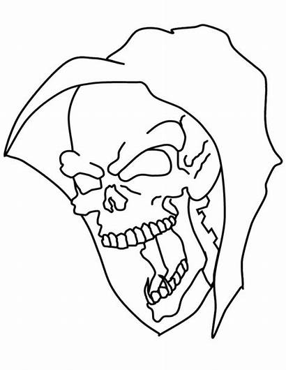 Skull Coloring Pages Mask Halloween Printable Scary