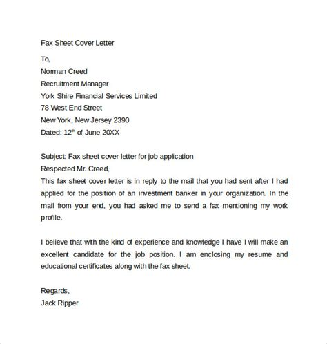 fax cover letter templates samples examples format