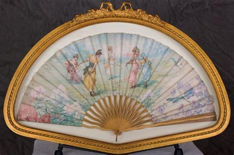 large antique cloth wooden folding hand fan gilt frame