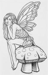 Coloring Pages Fairies Printable Fairy Easy Print Faerie Adult Colouring Drawings Adults Outline Colour Drawing Printables Mushroom Sheet Pretty Garden sketch template