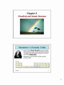 Chapter 5 Periodicity And Atomic Structure