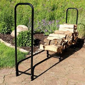Sunnydaze, Log, Rack, 8, U0026, 39, Black, Steel, Outdoor, Firewood, Stacker, Storage, Holder