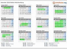 Kalender 2019 + Ferien BadenWürttemberg, Feiertage