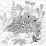 Coloring Dinosaur Dinosaurs Stegosaurus Colouring Nature Pages Adult Books Reptile Mandala Printable Adults Animals Animal Reptiles Prehistoric Colour Justcolor sketch template