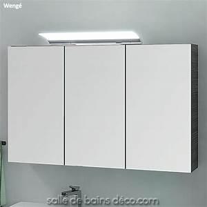 armoire porte en miroir meuble de salle de bains de 100cm With porte de douche coulissante avec lampe led miroir salle de bain