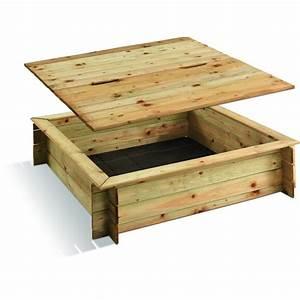 Bac à Sable Bois : bac sable en bois avec couvercle 120 x 120 cm 180 ~ Premium-room.com Idées de Décoration