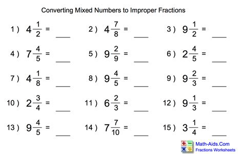 Improper Fraction To Mixed Number Worksheet Worksheets For All  Download And Share Worksheets