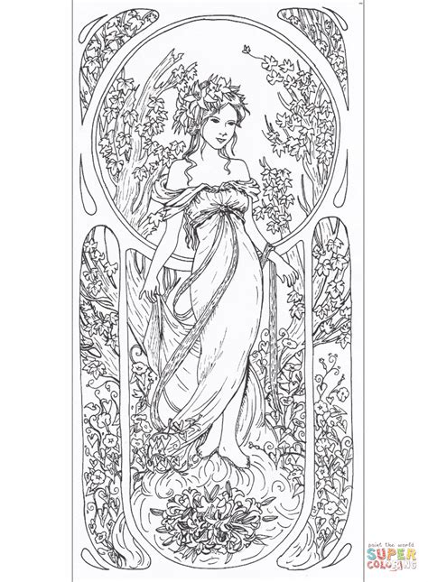 tribute  alfons mucha coloring page  printable