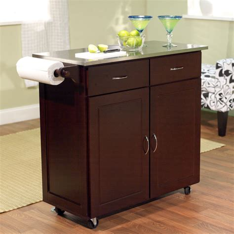 kitchen island stainless top brayden studio dayville large kitchen cart with stainless