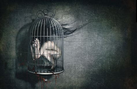 dark horror creepy blood macabre cage sad sorrow wallpaper