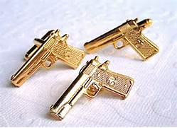 Gold Gun Cufflinks and Tie Tack SET of 3 Colt by CosmicFirefly  Real Golden Guns
