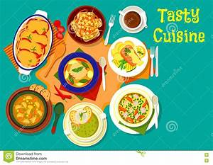 Soup And Fish Dishes Icon For Dinner Menu Design Stock ...