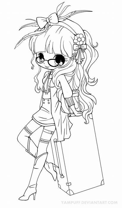 Coloring Pages Chibi Deviantart Yampuff Lineart Anime