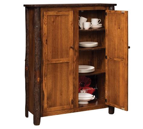 Amish Rustic Hickory 2 Door Jelly Cupboard Pantry