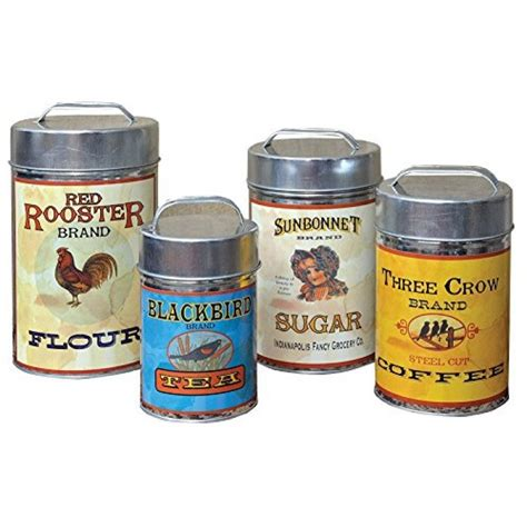 cwi gifts geekshive cwi gifts vintage canisters food safe set of 4 7 25 quot 10 25 quot kitchen storage