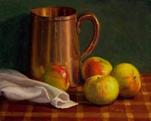 Wang Fine Art: still life painting apples metal pitcher ...