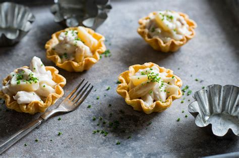 easy canapes chicken and asparagus tartlets recipe sbs food