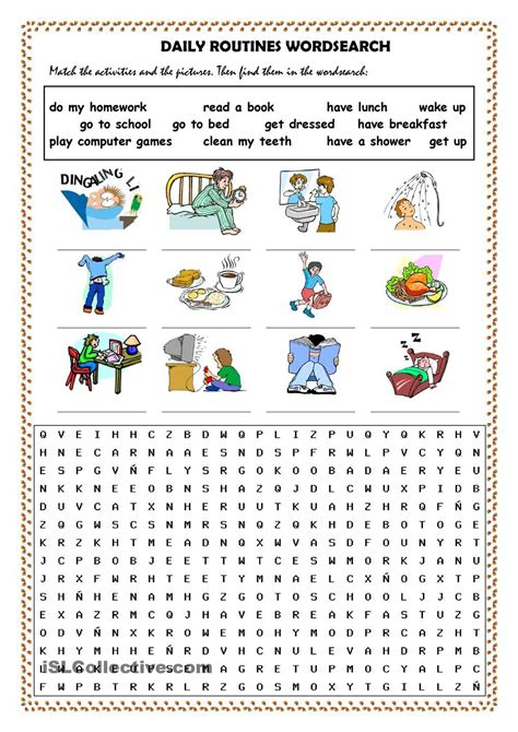 daily routines worksheets word daily routines picture dictionary and wordsearch