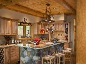 Primitive Kitchen Island Ideas by Log Cabin Kitchens With Modern And Rustic Style