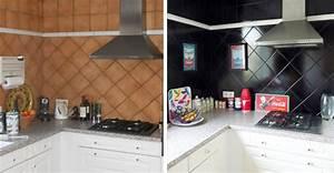 repeindre le carrelage de la credence de ma cuisine cote With carrelage adhesif salle de bain avec par led zoom