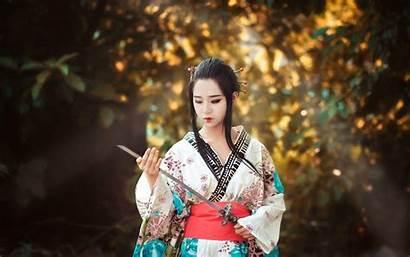 Japanese Asian Sword Kimono Samurai Woman Wallpapers